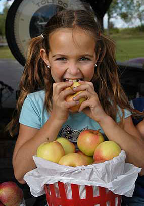 Girl eating apple at Hemmingford orchard south of Montreal fall activities